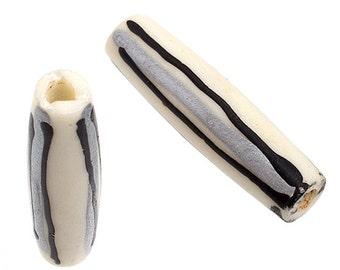 20 Pieces Natural Bone Pipe - White Silver Black 1 inch (1029)