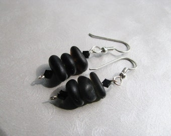 Beach Glass Earrings - Sea Glass Earrings - Black Dangle Stacked Earrings