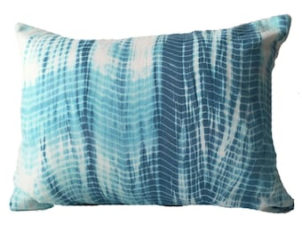 Aqua Blue Shibori Tie Dye Cotton Throw Accent Lumbar Pillow