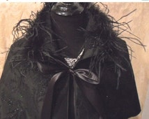 30% OFF - June Sale CAPELET - Black Satin Sparkle Ostrich Feathers Glam Girl Holiday - Black Sparkle