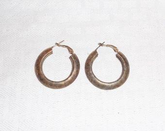 1960s Vintage Textured Gold Tone Hoop Earrings for Pierced Ears