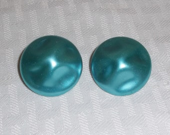 1950s Vintage Turquoise Baroque Pearl Earrings Clip On Style Japan