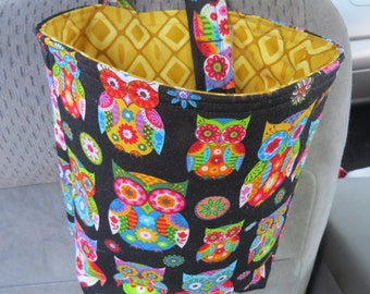 Trash Bin, Car Trash Bag, Cute Car Accessories, Headrest Bag, Trash Container, Whimsical Owls