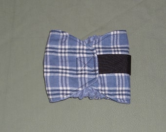 Blue Plaid Male Dog Belly Band | Plaid Flannel Male Dog Diapers | 4 Smaller sizes to pick from | Puppy Belly wrap | Doggy Bellybands