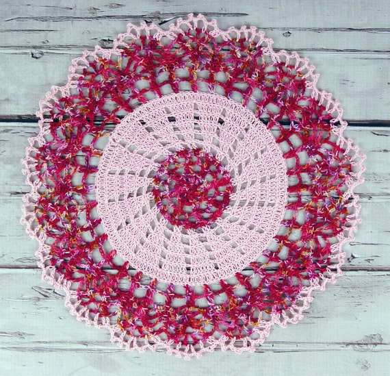 Lovely Crocheted Pink Raspberry Variegated Doily Table Topper - 13""