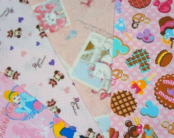 Disney fabric scrap Minnie  Mouse and Marie Aristocats Disney Princess 25 cm by 25 cm or 9.6 by 9.6 inches each piece  2016A