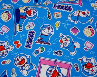 Licensed  fabric Doraemon fabric  50 cm by 106 cm or 19.6 by 42  inches Half Meter nc55