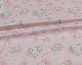 Sanrio Japan Licensed Precut fabric Twin Little Stars Kiki Lala print 50 cm by 106  cm or 19.6 by 42 inches Half Meter