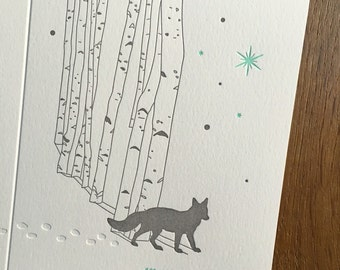 Fox in the woods with letterpress holiday card