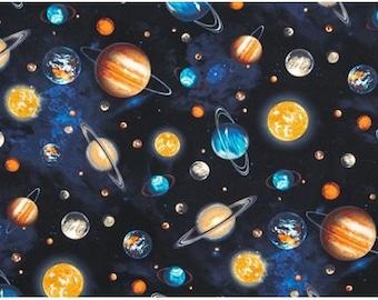 One (1) Yard -Stargazers Planet Stars Space Fabric Robert Kaufman AGW-14606-11 ROYAL