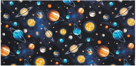 One 1 yard stargazers planet stars space fabric robert for Planet print fabric