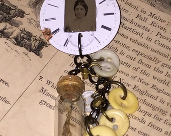 Antique Porcelain Tin Type Brooch Pin with Antique button Taxidermy Quail Foot Vial Dangle Victorian Steampunk Style