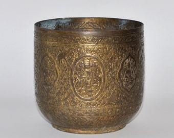 Antique Large Indo Persian Intricately Hand Engraved Brass Planter Jardiniere Cache Pot