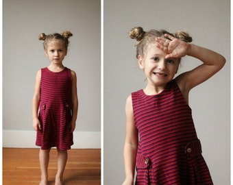 ON SALE 1960s Navy & Red Stripe Dress~Size 4t/5t