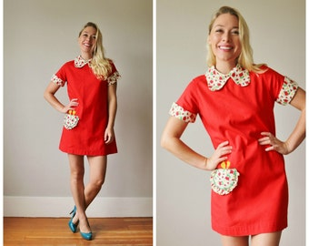 1960s Chirpie Mini Dress >>> Size Extra Small to Small