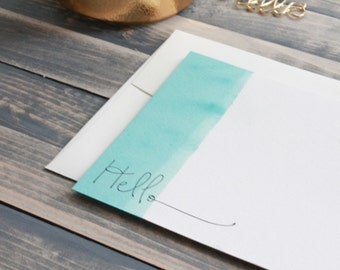 Ready to Ship - Hand Dip Dyed Cards - Ombre Stationery Set - Turquiose Hello