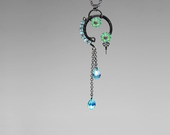 Steampunk Pendant with Bold Aqua Crystal Accents, Dramatic Statement Pendant, Long chain Dangles, Crystal Necklace, Aura v3