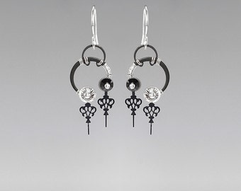 Steampunk Earrings with Black and Clear Swarovski Crystals, Pocket Watch Hand Earrings, Swarovski Earrings, Statement Jewelry, Zeus II v9