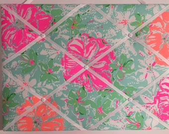 New memo board made with Lilly Pulitzer Beach Walk fabric