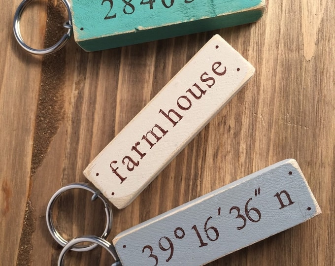 rustic cottage chic distressed custom keychain coordinates, address, name, zip code, housewarming gift, key chain, wood keychain,