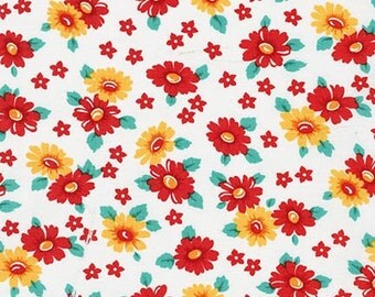 Clearance FABRIC MORNINGSIDE FARM Floral Feedsack style by Robert Kaufman