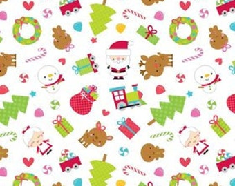 Santa Express Christmas Cute and Colorful Novelty Fabric ~ Woven Designer Cotton by the yard