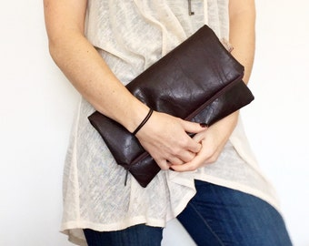 Chocolate Envelope Clutch - Faux Leather