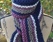 Striped Scarf Chunky Knit - Ladies Winter Scarf - Long Stripes Scarf - Mens - Teen - Wool - Navy Blue - Purple Plum - Oatmeal - Cocoa Brown