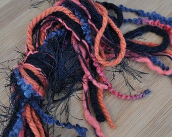 Destash Yarn - Scrap Bundle For Craft Projects - Black - Orange - School Colors - Halloween - Fiber Art Supplies - Textile Craft Yarns