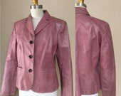 Vintage 80's 90's Pink Leather Jacket . Woman's leather jacket. blazer