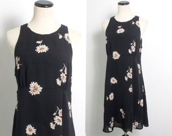 VTG 90's Grunge Daisies Babydoll Dress (Large) Black Chiffon Empire Waist Sleeveless Mini Sundress Flirty Floral
