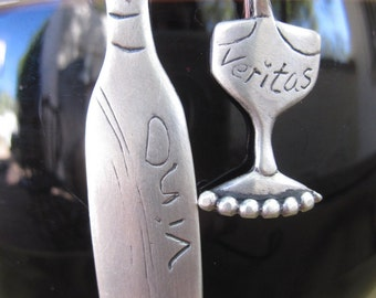Wine bottle and glass sterling silver earrings - in Vino Veritas - a Cosmo's Moon original design