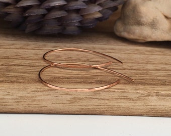 Rose Gold Open Hoops - Medium (E407RG-M) Hammered, Pink Gold, Threader Earrings - wire jewelry by cristysjewelry on etsy