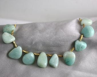Amazonite Nugget Briolettes - Set of 10 - Amazonite Beads - Smooth