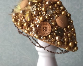 Mustard and Bronze beaded tear-drop Fascinator