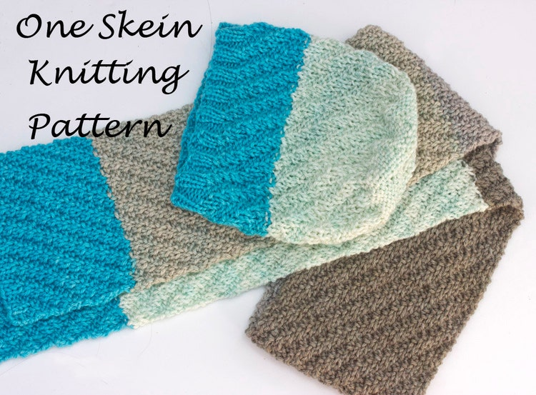 Hat and Scarf Knitting Pattern One Skein Caron Cakes by beadedwire