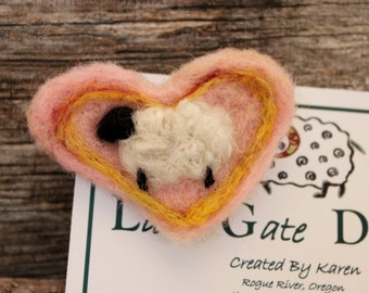 Needle felted Pins Heart  # 1629