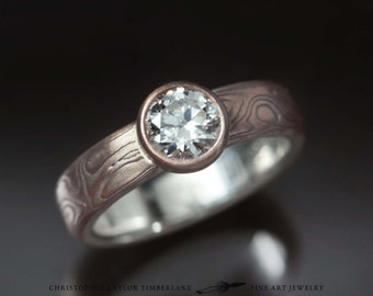 Mokumé Gane 14K Rose Gold and Sterling Silver Ring