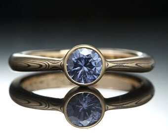 Mokumé Gane Sapphire Ring - Yellow Gold and Sterling Silver