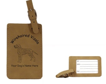 L4246 Wirehaired Vizsla Standing Personalized Luggage Tag