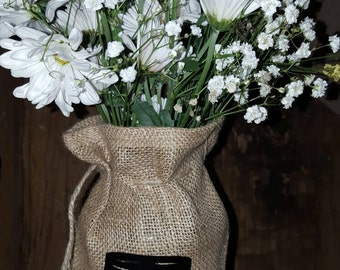 Mason Jar, Burlap, Printed Burlap Bag, Personalized Burlap, Vase, Jar Cover, Monogram, Burlap Mason Jar, Centerpiece, Rustic Wedding