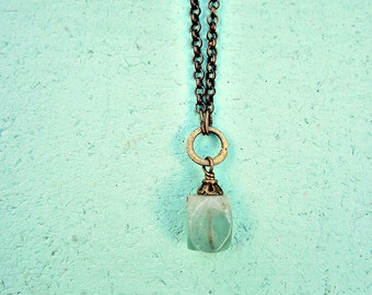 Stone Pendant Necklace with Adjustable Rustic Brass Chain: Mint Julep