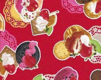 Japanese Import Kokka Desserts in Red - End of Bolt - 1 Yard 18 Inches Left