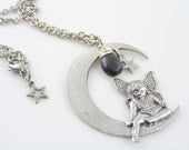 Large Angel in Moon and Iolite Necklace, Crescent Moon Necklace with Stars, Moon Jewelry, Iolite Jewelry, Gem Necklace, Gem Jewelry