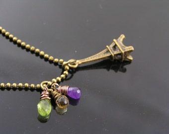 Eiffel Tower Necklace, Love Paris - Eiffel Tower Charm and Gemstone Necklace, Paris Jewelry, Paris Necklace, Support Paris