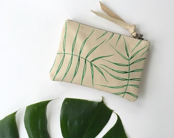 Wild Fern Leather Zipper Pouch