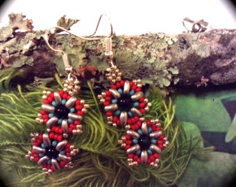 Native American Style Handwoven Seed Bead Earrings Medallion Style native boho gypsy hipster star flower southwestern ethnic tribal