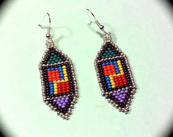 Geometric Design Native American Style Handwoven Long Dangle Seed Bead Earrings Fashion Earrings native tribal boho fall diamond pattern