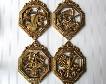 4 Vintage Syroco Homco wall hanging decor plaques set of four musical instruments ornate gold tone plastic Hollywood Regency BoHo