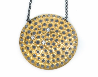 "Large gold round pendant/ Big circle, modern minimalist statement necklace/ 22k gold/ 36"" oxidized silver chain/ 3 cubic zirconia/ NPG3CZ-50"
